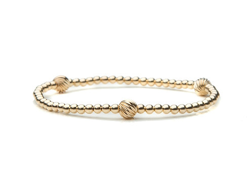 14kt gold filled 3mm bracelet with Fancy Accents