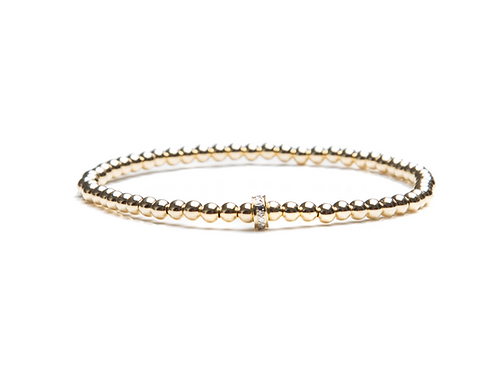 Small gold bracelet with diamond rondelle