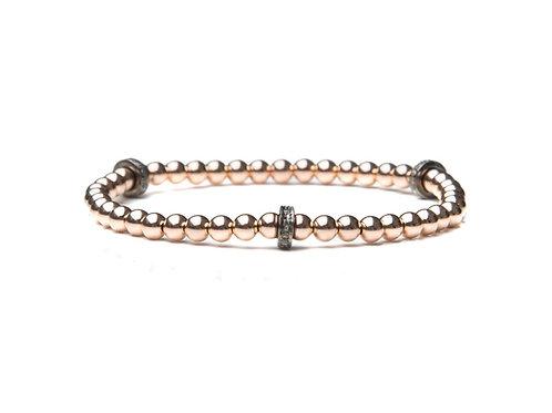14kt rose gold filled bracelet with sterling silver diamond rondelles