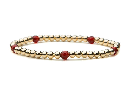 14kt gold filled 4mm bracelet with 5 Vintage Garnets
