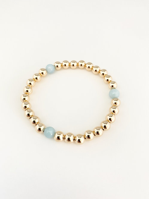 14kt gold filled 6mm bead bracelet with aquamarine