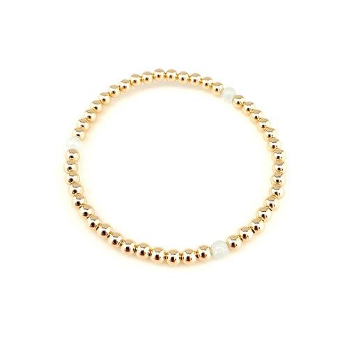 14kt gold filled 4mm bead bracelet with aquamarine
