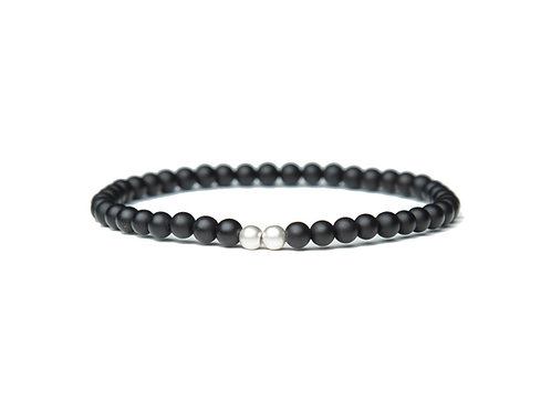 Matte Black Agate 4mm Bead Bracelet