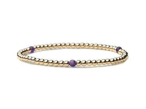 14kt gold filled 3mm bracelet with Amethyst