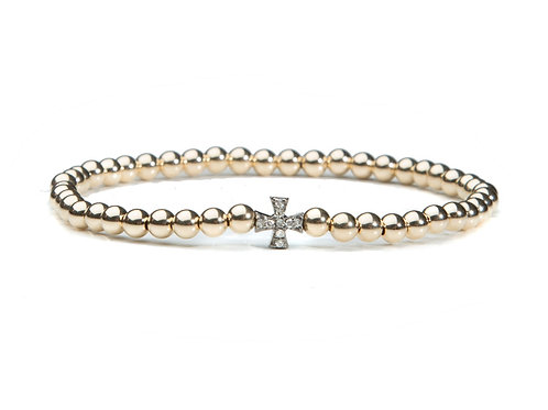 14kt gold filled bracelet with silver and diamond cross