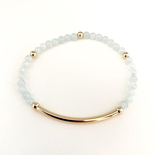 14kt gold filled bar bracelet with aquamarine