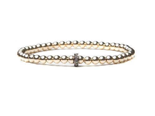 14kt gold filled bracelet with sterling silver diamond rondelle