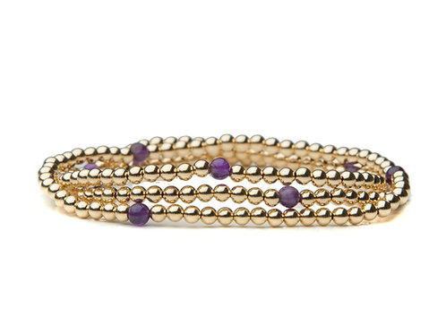 Gold Amethyst Stack of 3