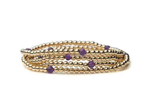 Gold Amethyst Stack of 5