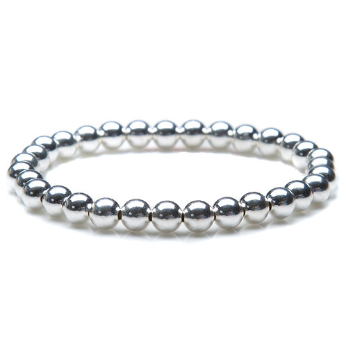 6mm Sterling Silver Bead Bracelet