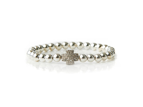 Large Silver Diamond Cross Sterling Silver Bracelet