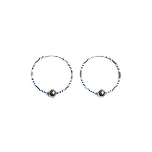 Sterling Silver Hoop/Gold Bead Earrings