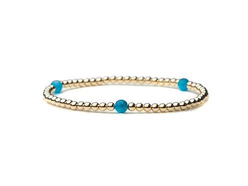 14kt gold filled 3mm bead bracelet with Blue Apatite