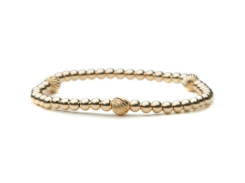 14kt gold filled 4mm bracelet with fancy accents
