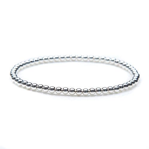 """Sterling silver bead bracelet. 3mm bead, 7"""" size"""