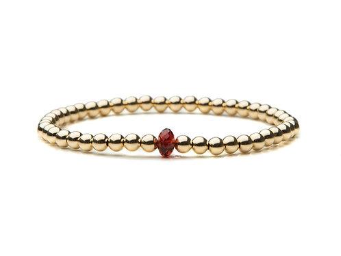 14kt gold filled 4mm bracelet with Vintage Garnet