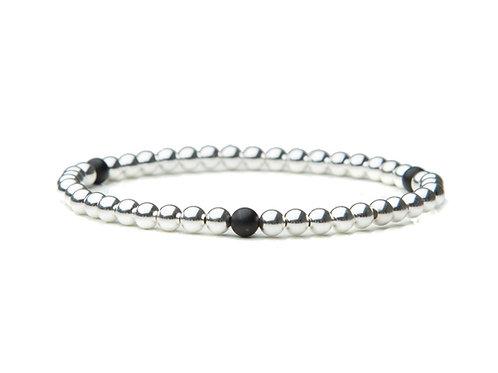Sterling Silver Bracelet with Matte Black Agate