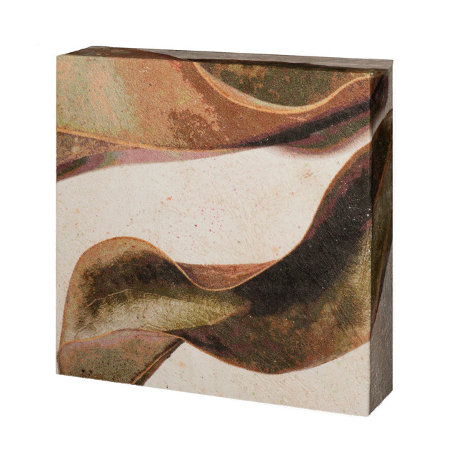 "06.	Fallen magnolia leaves-wrapped  6""X6""X2"""