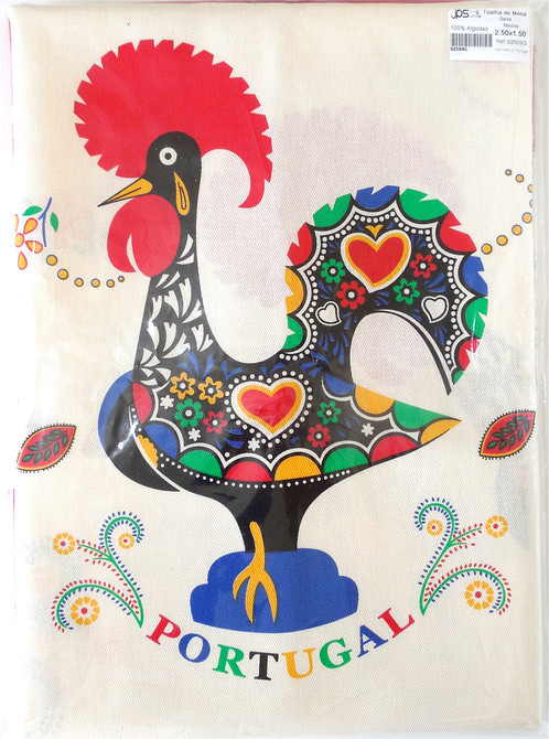 Barcelos Rooster Table Cloth 100% Cotton 250x150cm. Printed