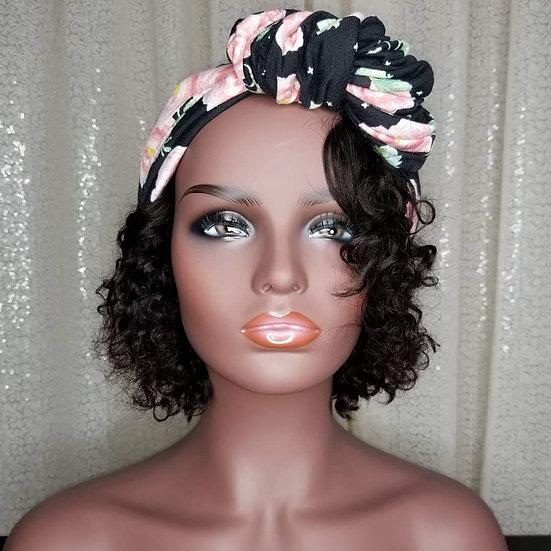 Black Floral Turban Cap