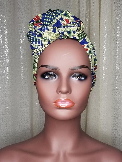 Blue Kente African Print Turban Cap