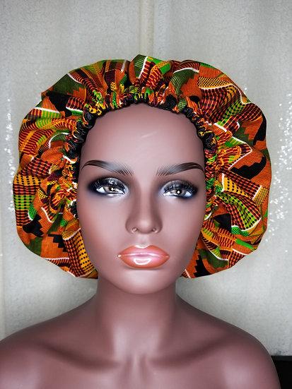 Kente African Print Satin-lined Bonnet