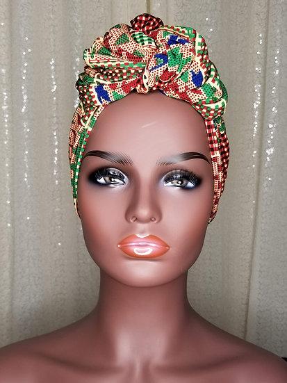 Red Kente African Print Turban Cap