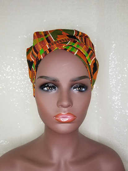 Kente African Print Satin-lined Bonnet-Wrap