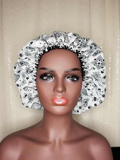 White Bandana Satin-lined Bonnet