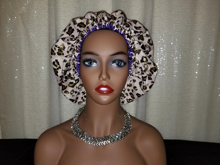 Pink Leopard Print Satin-lined Bonnet