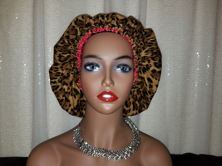 Brown Leopard Print Satin-lined Bonnet