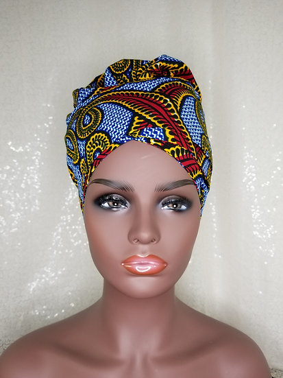 Red Chain African Print Satin-lined Bonnet-Wrap