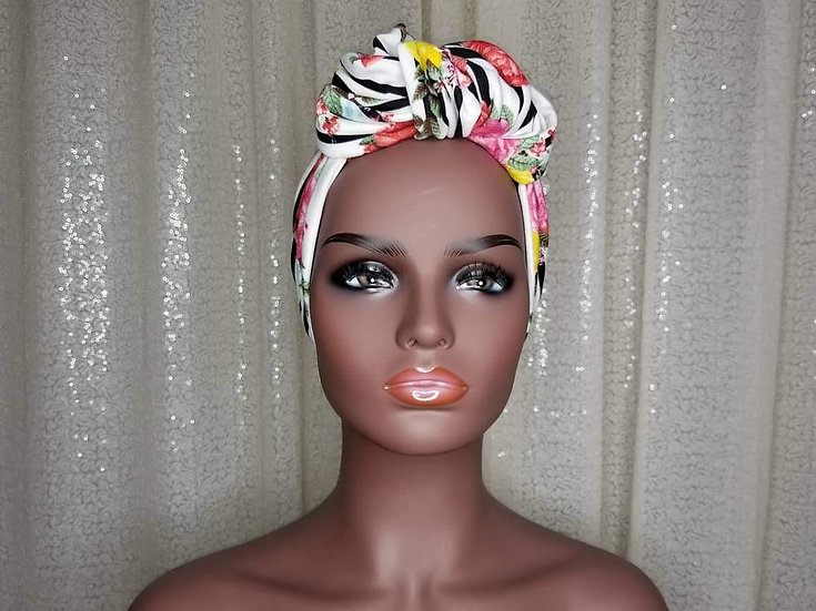 Striped Floral Turban Cap