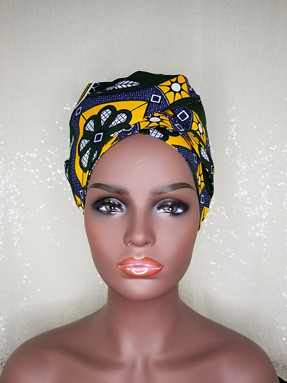 Yellow Medallion African Print Satin-lined Bonnet-Wrap