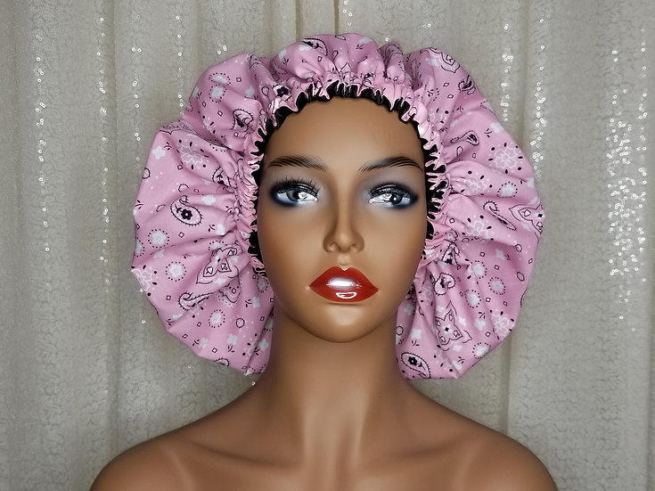 Pink Bandana Satin-lined Bonnet