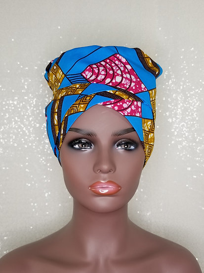 Sky Geometric African Print Satin-lined Bonnet-Wrap