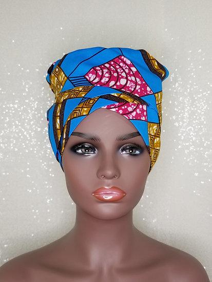 Sky Geometric African Print Satin-lined Bonnet-Wrap