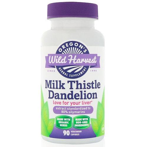 Oregon's Wild Harvest, Milk Thistle Dandelion, 90 Vegetarian Capsules