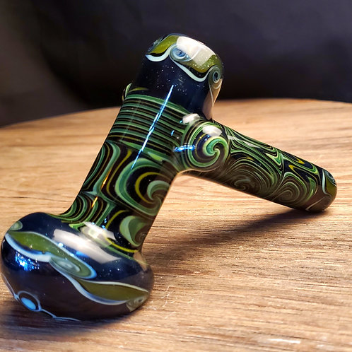 Green and black with sparkles! Hammer bubbler