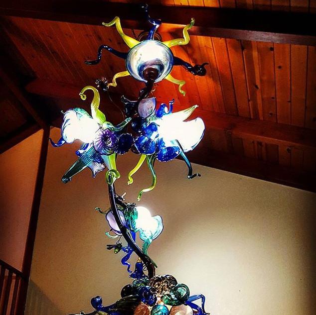 10 foot vertical glass garden chandelier