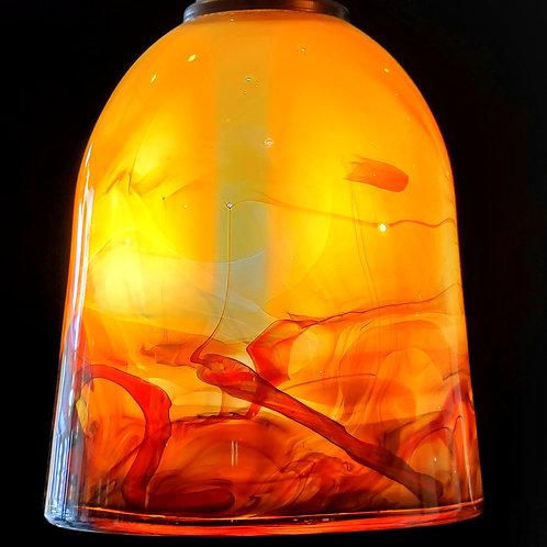 Dark amber over salmon/red 8.5x 6