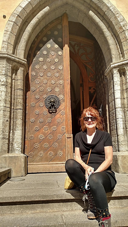 Admiring doors in Brugge