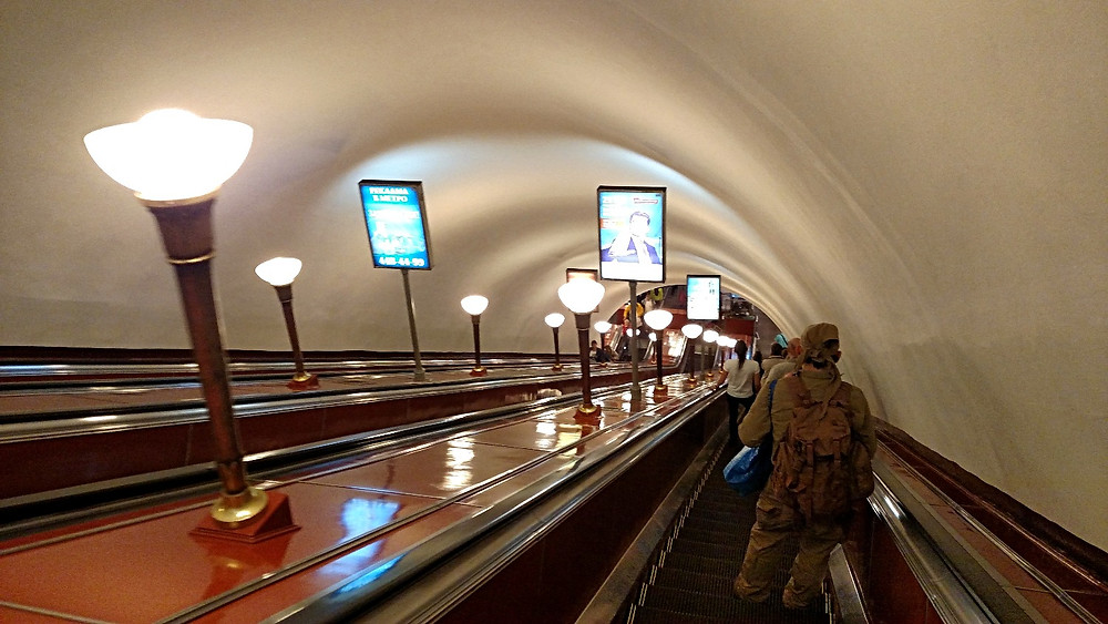 St. Petersburg Metro escalator down, down...