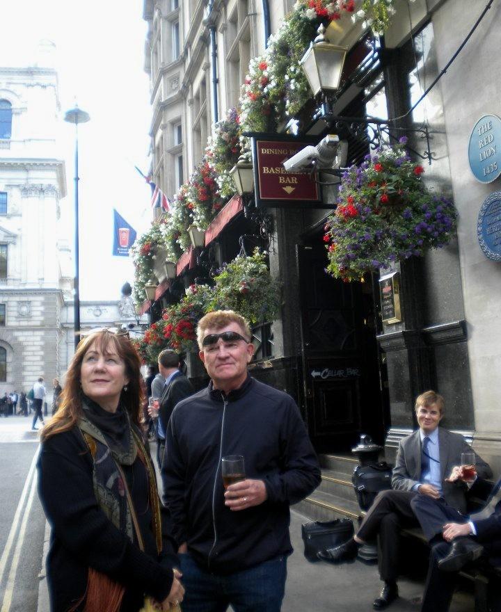 Having a pint in London
