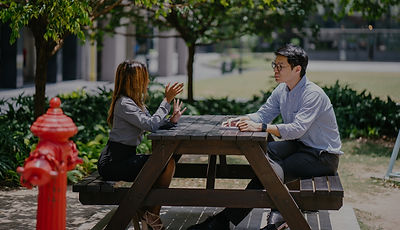 Two people having a conversation