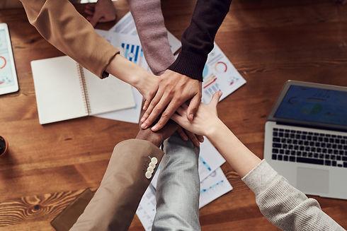 Hands together, teamwork