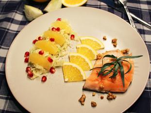 Saibling, Mandelcrunch, Orangen-Fenchelsalat