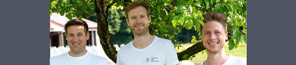 Das Team der Münchner Käse Manufaktur, Sebastian Kreuels, Johannes Klappacher und Franz Stuffer
