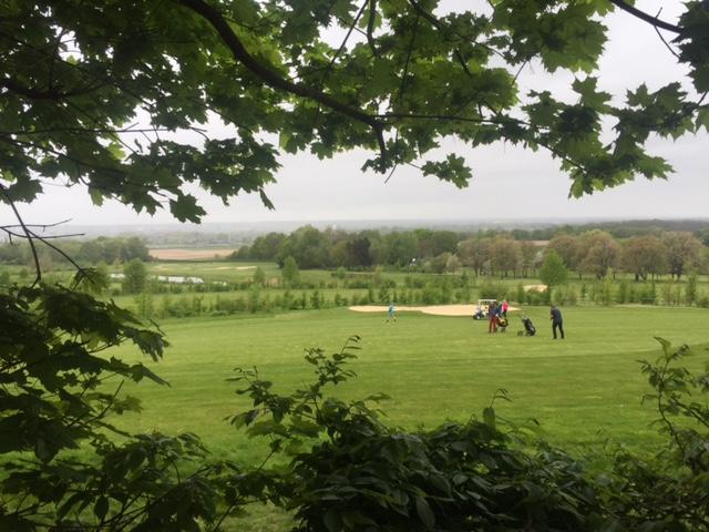 Golfbaan met zicht op boerderij