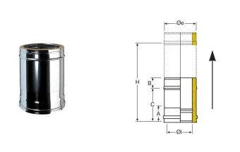 LONGUEUR AJUSTABLE DOUBLE PAROI DIAM 150 ISOLE25mm
